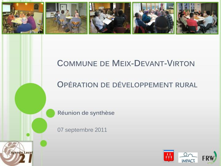 commune de meix devant virton op ration de d veloppement rural n.