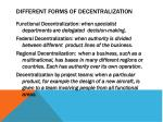 different forms of decentralization