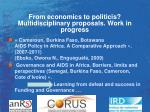 from economics to politicis multidisciplinary proposals work in progress