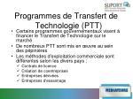 programmes de transfert de technologie ptt