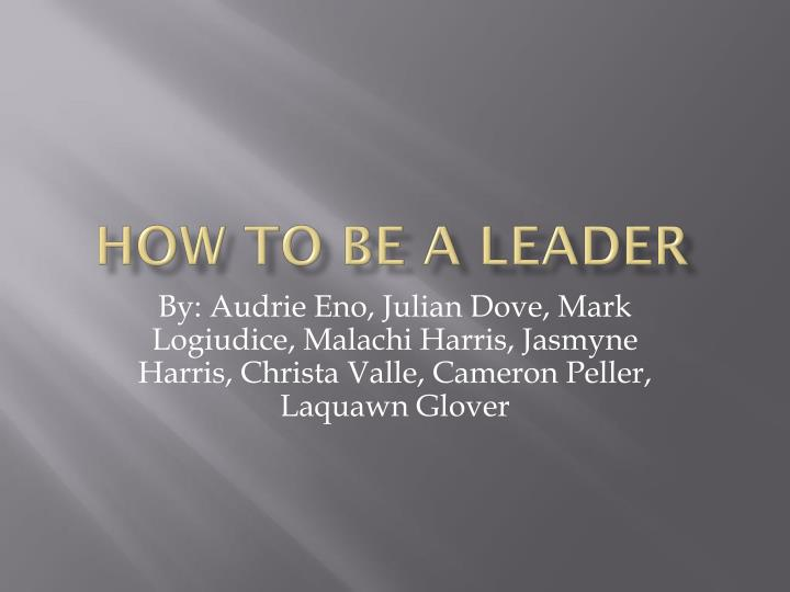 how to be a leader n.