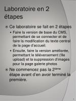 laboratoire en 2 tapes