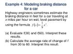 example 4 modeling braking distance for a car