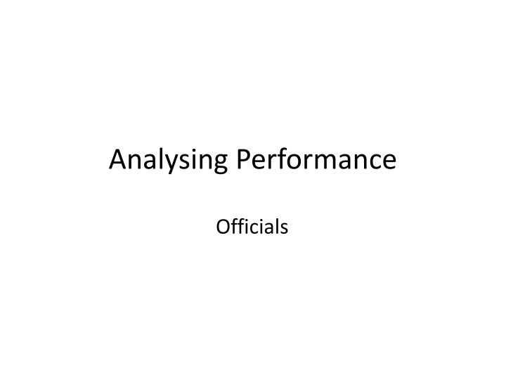 analysing performance n.