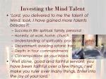 investing the mind talent