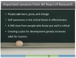 important lessons from 40 years of research