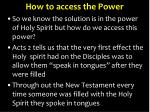 how to access the power
