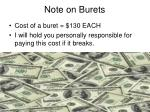note on burets