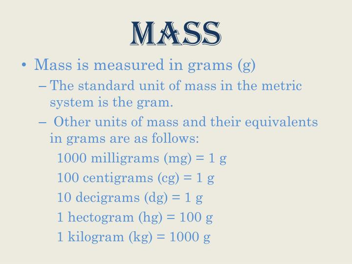 What is the standard si unit of mass