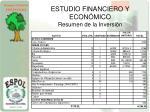 estudio financiero y econ mico resumen de la inversi n