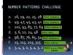 number patterns challenge1