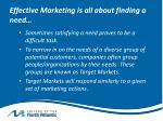effective marketing is all about finding a need