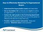 keys to effectively marketing to organizational buyers