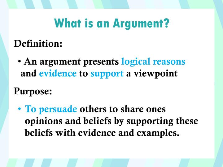 a definition of an argument An argument is a statement or set of statements that you use in order to try to convince people that your opinion about something is correct there's a strong argument for lowering the price the doctors have set out their arguments against the proposals 2 variable noun an argument is a discussion.
