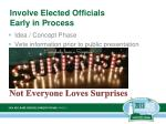 involve elected officials early in process