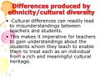 differences produced by ethnicity cultural diversity