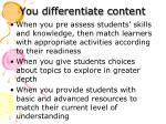 you differentiate content