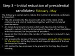step 3 initial reduction of presidential candidates february may