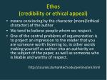 ethos credibility or ethical appeal