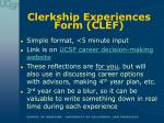 clerkship experiences form clef