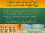 differences between popul vuh and greek mythology