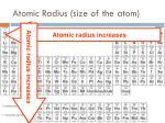 atomic radius size of the atom