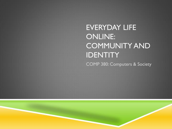 everyday life online community and identity n.