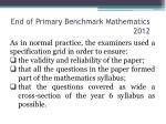 end of primary benchmark mathematics 20121