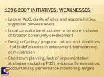 1996 2007 initiatives weaknesses