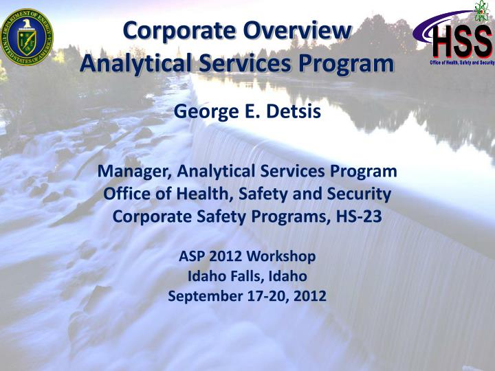corporate overview analytical services program n.