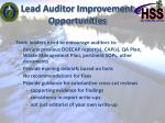 lead auditor improvement opportunities