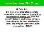 false teachers will come