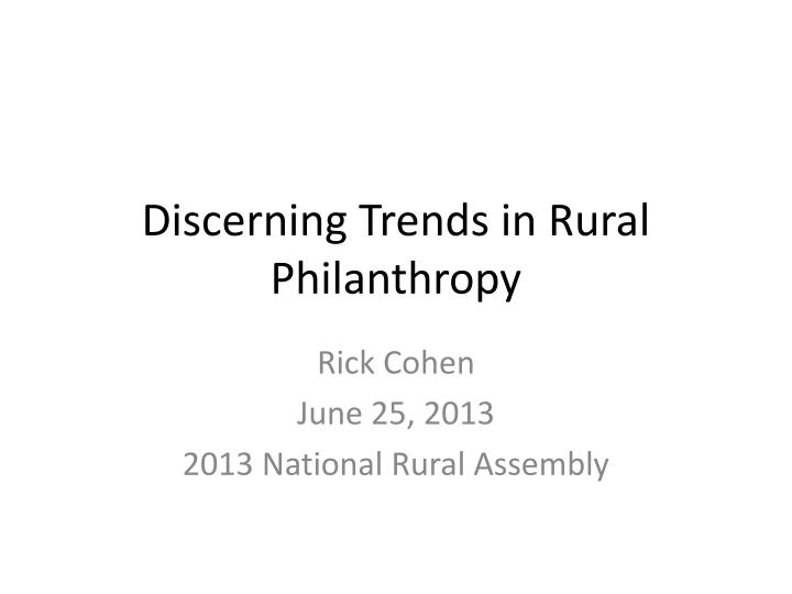 discerning trends in rural philanthropy n.