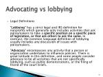 advocating vs lobbying