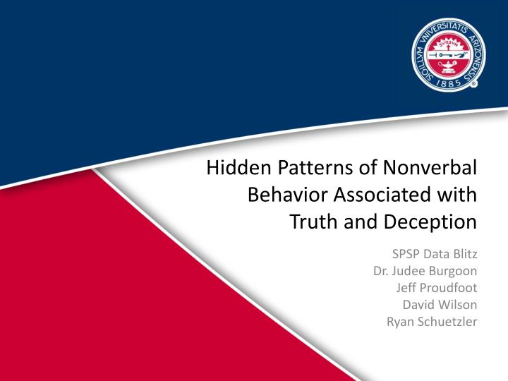hidden patterns of nonverbal behavior associated with truth and deception n.