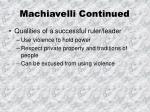 machiavelli continued