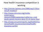how health insurance competition is working