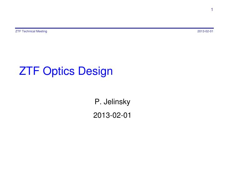 ztf optics design n.