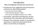 introduction why investigating interactional synchrony