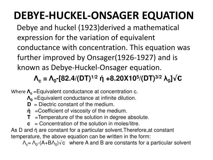 Electro chemistry(26 debye huckel onsager equation) youtube.