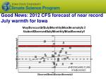 good news 2012 cfs forecast of near record july warmth for iowa