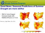 good news seasonal predictions of summer drought are more skillful