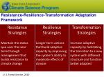 resistance resilience transformation adaptation framework