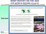 brief report on the 2005 icp africa round cont d2
