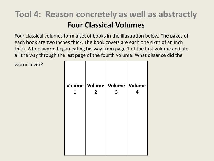 Tool 4:  Reason concretely as well