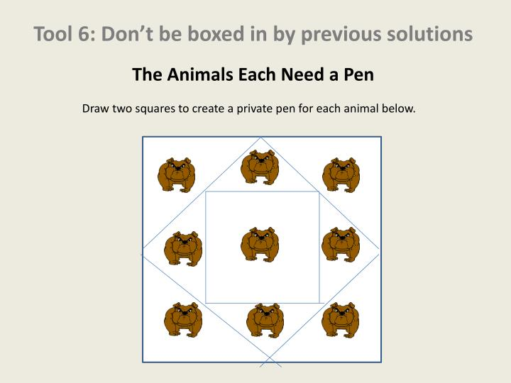 Tool 6: Don't be boxed in by previous solutions