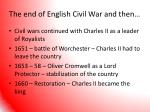the end of english civil war and then
