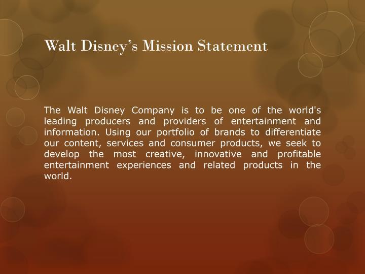 Walt disney s mission statement