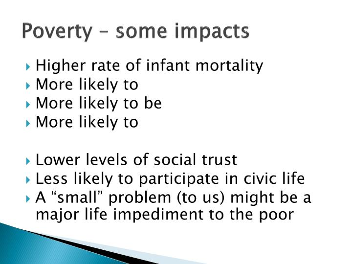 Poverty – some impacts