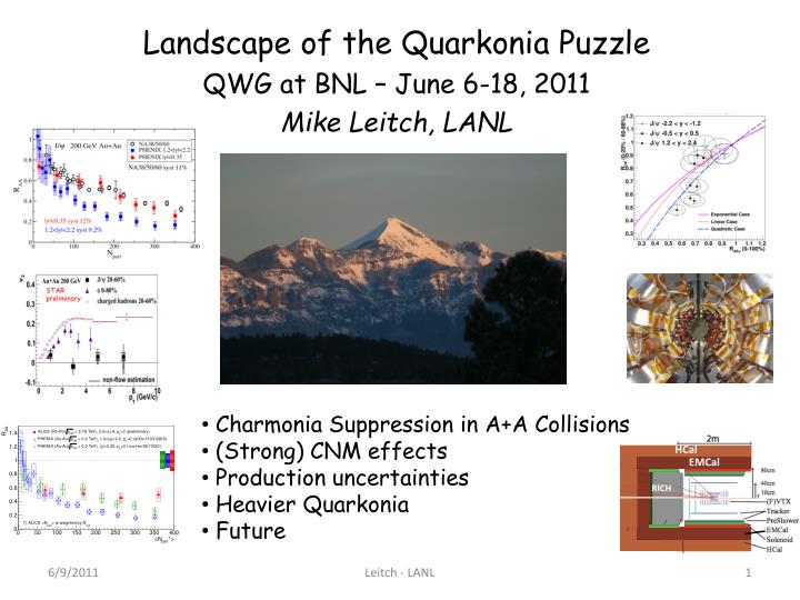 landscape of the quarkonia puzzle qwg at bnl june 6 18 2011 mike leitch lanl n.